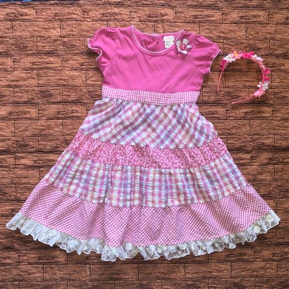 Girls Youngland Purple Striped /& Polka Dot Dress Size 6X
